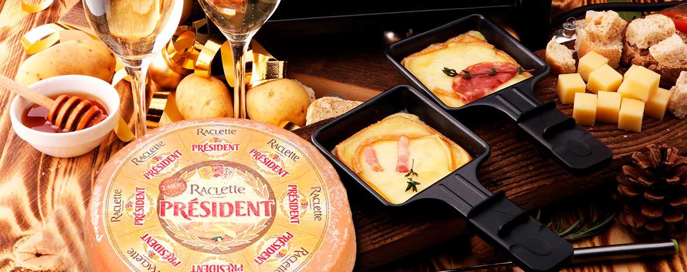Raclette con queso raclette Président