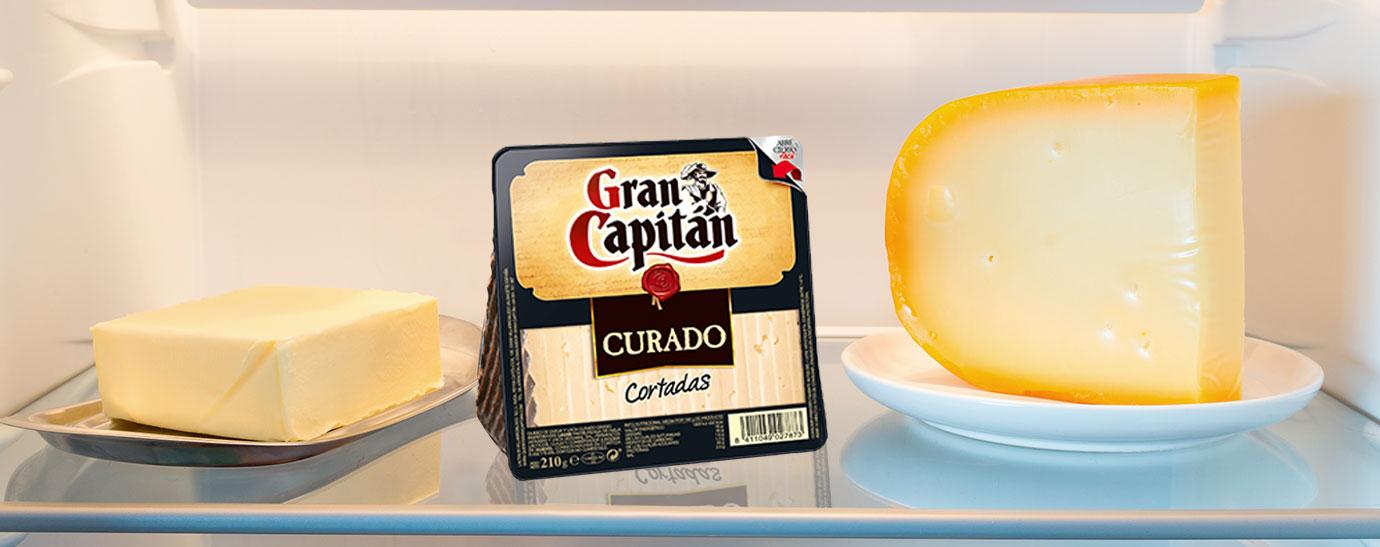 Balda de un frigorífico con queso y queso curado Gran Capitán
