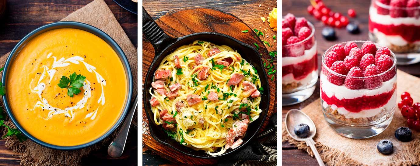 Tres recetas diferentes en las que se ha empleado nata en su elaboración. UNa crema, un plato de pasta carbonara y un postre de queso y nata