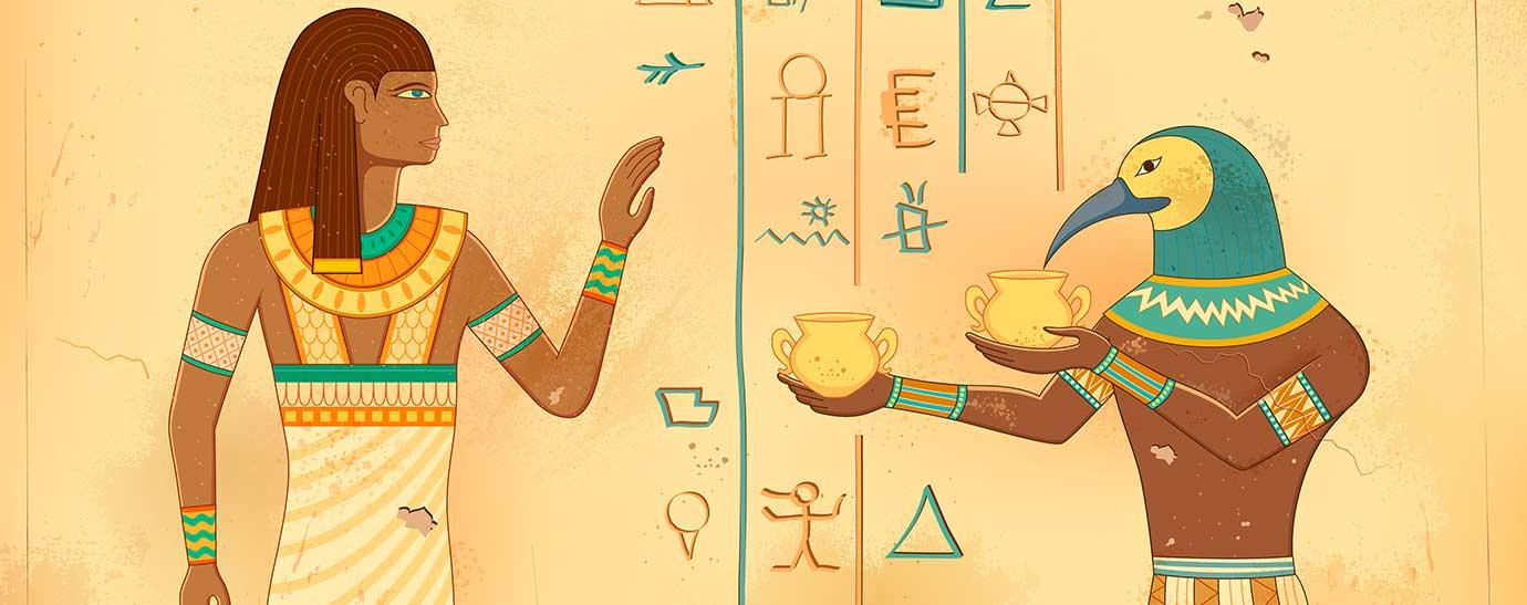 Ilustración del arte egipcio grabado en la pared