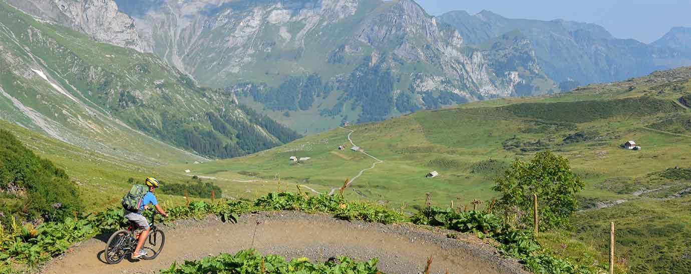 Ciclista en un paisaje alpino